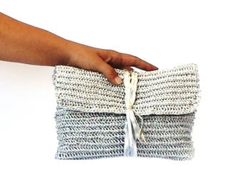 Silver straw beach clutch crochet raffia purse, woven bag, summer beach bag with genuine leather braid fashion beach raffia silver handbag