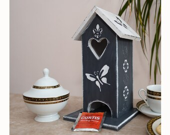 Tea house Tea bags holder Tea storage Wooden tea box Kitchen table decor Tea bag box Tea house box Tea bags storage Wooden tea storage Tea