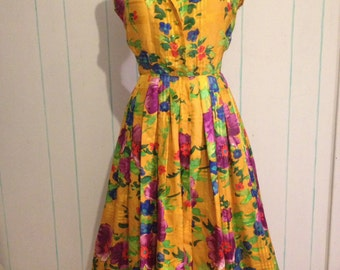 Vintage Kelle Floral Yellow Dress Size 10