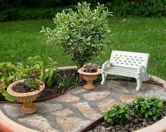 Bench 1pc - Miniature Garden - Doll House - White