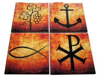 Christian gifts - set of four christian coasters - catholic coasters - religious coasters - handmade ceramic tiles - christian art symbols
