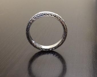 Platinum Band - Engraved Platinum Engagement Band - Platinum Wedding Band - Art Deco Platinum Ring - Art Deco Band - Hand Engraved Band