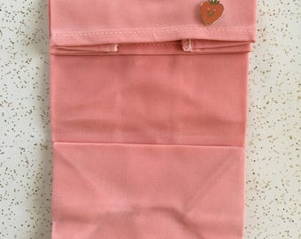 Collab Series: Pin & Lunch Bag Set in Coral // Kristina Micotti Strawberry Pin // WAAM Industries Waxed Canvas Lunch Bag