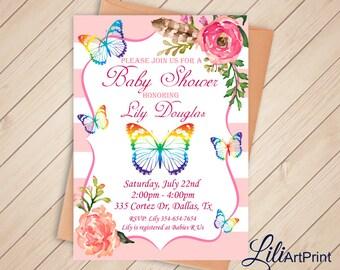 Baby Shower Invitation, Delicate Baby Shower, Butterfly Baby Shower invite, Flowers Baby Shower Invitation, Digital file 1