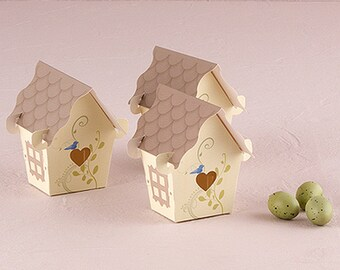 12 x Enchanting Bird House Design Wedding Favour Boxes, Gift box, Easter Treat Box, Party  - Pack of 12