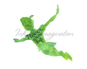 Never Grow Up | Peter Pan Watercolor Print