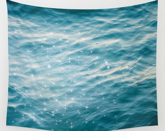 dreamy ocean wall tapestry. large size wall art. original tapestry, tapestry blue decor abstract nursery decor sea deep blue