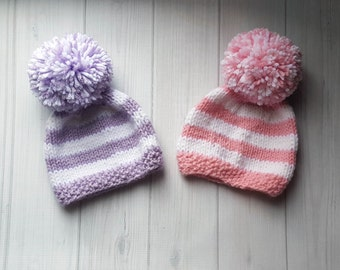 Twin Baby Hats - Knit Baby Hats