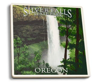 Silver Falls State Park, OR South Falls LP Artwork (Set of 4 Ceramic Coasters)