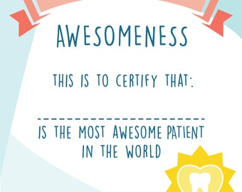 Certificate of Awesomeness, Best Patient Certificate, Award Certificate, Children Certificate, Personalized Certificate,Certificate template