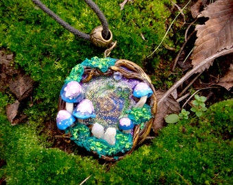 """Pendant made of polymer clay """"The secret of the forest"""""""