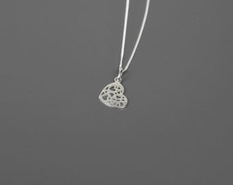 Heart Necklace, Silver Heart Necklace, Love Necklace, Valentines Necklace, Heart Pendant, Sterling Silver Heart Necklace