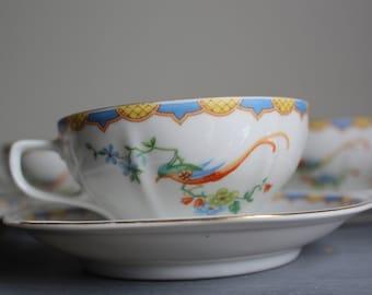 Vintage Czecholslavkia Tea Cups Orange Pheasant Set of Four