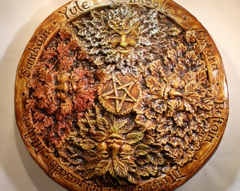 Green man Wheel of the year wall plaque,Jack in the green, Pagan, wiccan, beltaine, imbolc, midsummer, mabon
