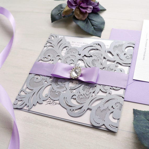 COURTNEY - Silver and Lavender Laser Cut Wedding Invitation - Silver Square Gatefold w/ Lavender Ribbon and Oval Diamond Buckle