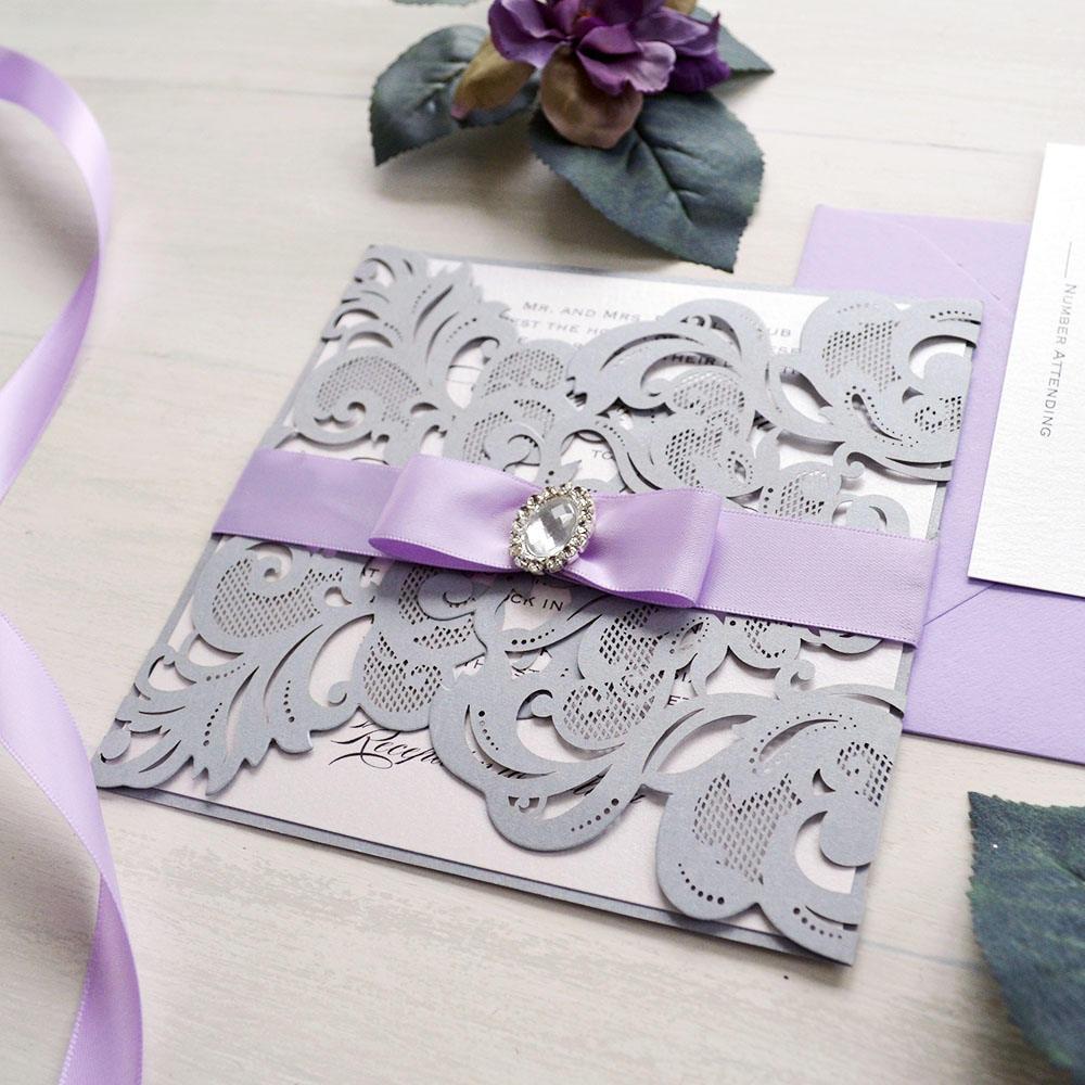 COURTNEY - Silver and Lavender Laser Cut Wedding Invitation - Silver ...