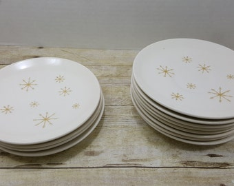 Star Glow Mid Century Royal china, dessert plates and saucers, vintage mid century starburst gold star