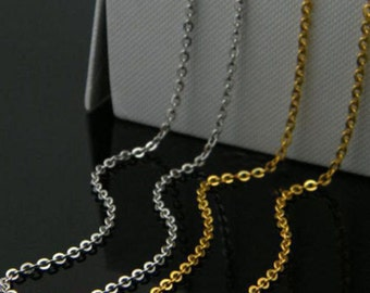 Tiny 20pcs Gold Or Silver Stainless Steel Flat Cable Chain Necklace Soldered Oval Link 16-30""