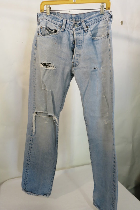 Vintage Levis Selvedge Seam Faded Jeans, Flash Dance, Boyfriend, Button front, Tattered Jeans