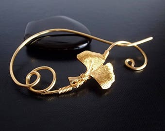 Ginko Leaf Shawl Pin, Scarf Pin, Sweater Brooch, Knitting Accessories, Gold Wire pin
