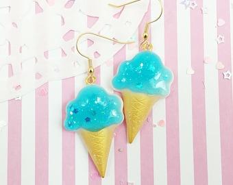 Mint Ice Cream Cone Earrings   Ice Cream Earrings    Fairy Kei Earrings   Sweet Lolita Earrings   Yume Kawaii Earrings   Pastel Rainbow