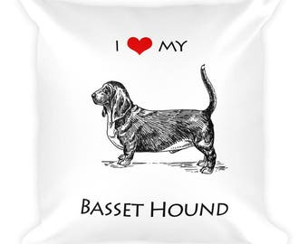 I love Basset Hound Square Pillow