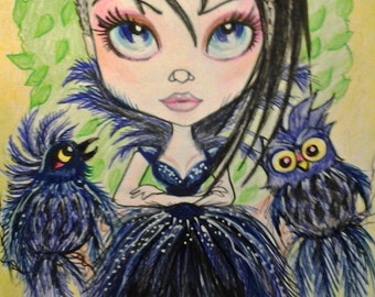 Navy Twiliight Gothic Fantasy Big Eye Owl and Bird Art Print by Leslie Mehl 8.5 x 11
