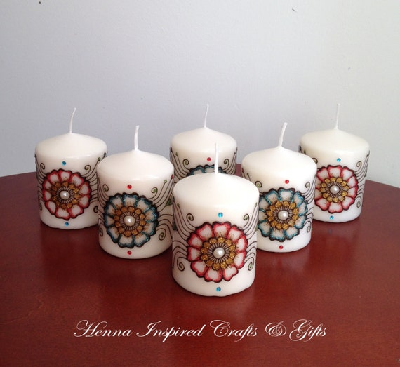 Set of 6 candles Indian Wedding Favors Henna Candles Party