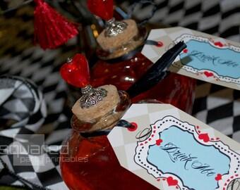 Alice in Wonderland Vintage Tea Party Printables - Favor Hang Tag Birthday Package - DIY Print - Alice's Tea Party  - Instant Download