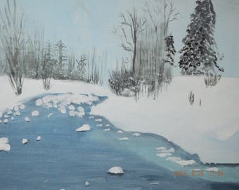 Montague Dawson British (1895-1973) River Bank with Snow