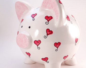 Hearts Piggy Bank - Personalized Piggy Bank - Red Heart Piggy Bank - Ceramic Piggy Bank - Love Piggy Bank - with hole or NO hole in bottom