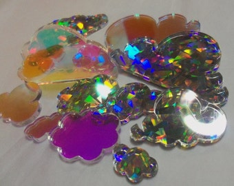 cloud charms,laser cut clouds,weather charms,weather embellishments,laser cut charms,radiant, holographic acrylic,