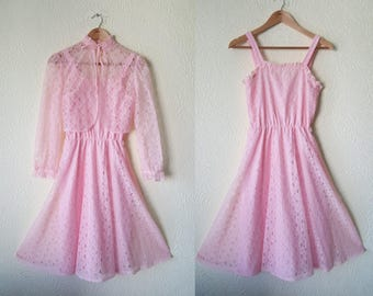 1970s does 1950s pink lace swing dress and bolero set size 10UK
