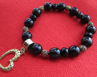Black Beads and Heart Charm Stretch Bracelet