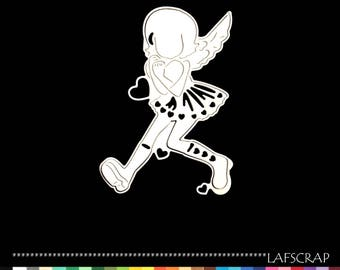 Cut scrapbooking fairy winged girl manga heart cutout paper embellishment die cut creation
