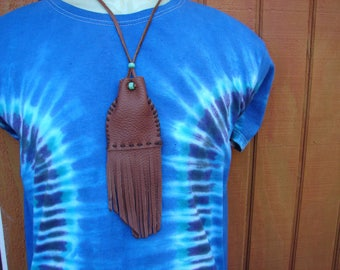Leather Medicine Bag, Fringed Necklace Pouch, Drawstring Pouch, Shamans Bag, Native American Regalia