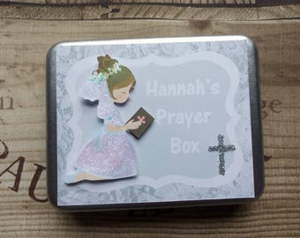 Prayer Tin - Prayer Box - Personalised Prayer Tin - Communion Prayer Box - Communion Gift - Christening Gift - Baptisim Gift - Gift For Her