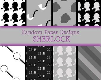 Sherlock - Digital Scrapbook Paper - Eight Sheets