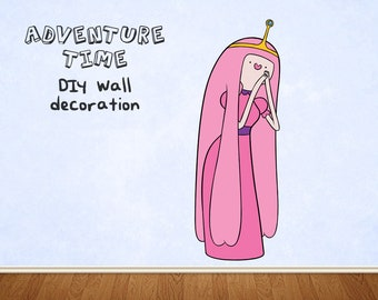 Adventure Time Princess Bubblegum giant wall decoration DIY paper kit (with free BMO) birthday party, room decor, wall hanging, poster