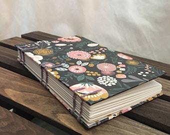 Coptic Bound Journal Sketchbook - Spring dark floral