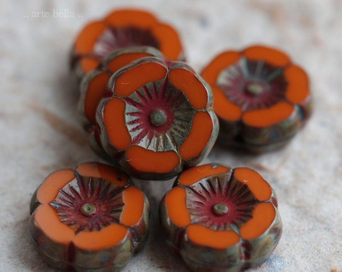 ORANGE PANSY .. NEW 6 Premium Picasso Czech Glass Flower Beads 12mm (6313-6)