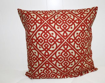 Waverly Lace it Up Scarlet Fabric Red and Cream Decorative Throw Pillow Cover