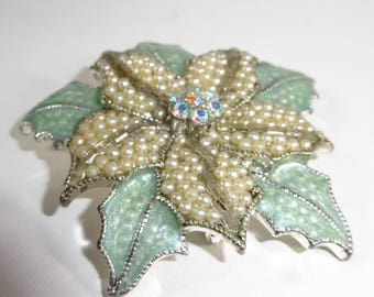 Designer Liz Claiborne, Vintage Seed Pearl Aurora Borealis Enamel Floral, figural enamel pin, Vintage green enamel leaves beaded center