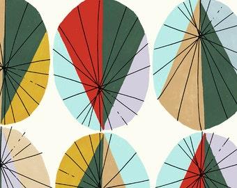 Inprint Large Parasol fabric Fat Quarters 100% cotton quilting dressmaking crafting 1960s style japanese parasol umbrella print UK Shop