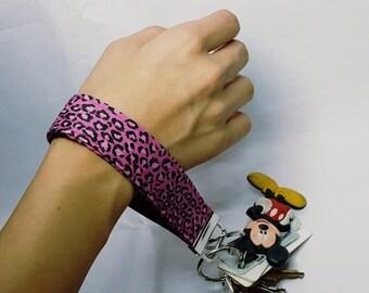 pink cheetah key fob wristlet / key bracelet / key strap / key chain