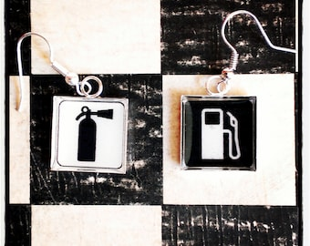 "black and white  earrings    ""flammable"""