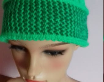 Hand Knitted Ladies Green Ski Hat