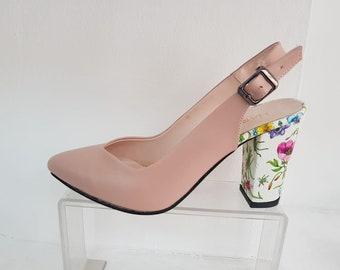 pink green floral heels white heels High heels Pumps Heels women Wedding shoes pink Floral Handmade heels Womens high heels  Women shoes