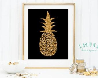 Pineapple Print, Pineapple Wall Art, Pineapple Art, Pineapple Decor, Gold Glitter