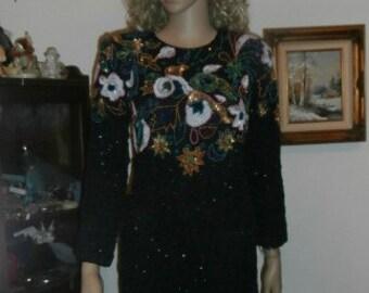 Womens  Formal Dress Beaded Long Sleeve Dress -  Black Multi Sequins/ Beads Vintage Formal Dress
